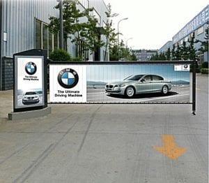แขนกั้นรถยนต์ แบบมีป้ายโฆษณา ไม้กั้นรถยนต์